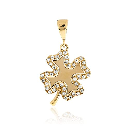 Gioiello Italiano - Four-leaf shaped pendant 14kt yellow gold with zircons