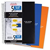 Five Star Spiral Notebook, College Ruled, 5 Subject, 6 x 9.5 Inches, 180 Sheets, Assorted Colors (06184)
