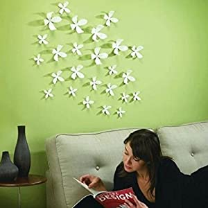 Great Value Wall Decor 3D DIY Flower Wall Stickers Home Art Decor Pop Up Mixed Colors Large White by Mzamzi