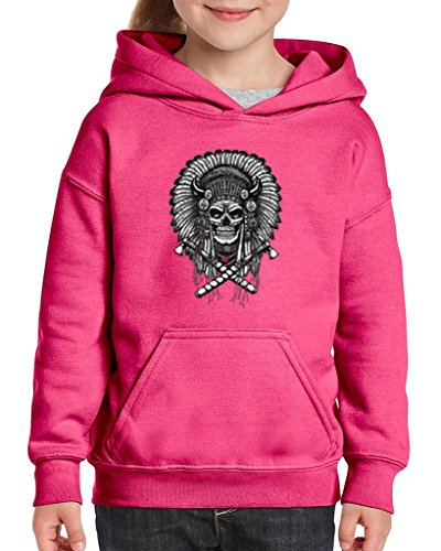 [Xekia Skull Indian Headdress Hoodie For Girls and Boys Youth Kids Large Azalea Pink] (Indian Wolf Headdress Costume)