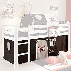 Vorhang Pirat 3-tlg 100% Baumwolle Stoffvorhang inkl Klettband für Hochbett Seeräuber Spielbett Etagenbett Stockbett Kinderbett Jugendbett