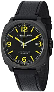 "Stuhrling Original Men's 451.33522 ""Leisure Eagle"" Tonneau Stainless Steel Watch with Black Leather Strap"