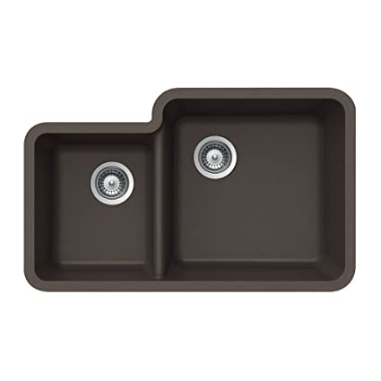 Houzer S-175U MOCHA Quartztone Series Granite Undermount 70/30 Double Bowl Kitchen Sink, Mocha