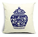 Blue and White Porcelain Classical Bottle Cartoon Cotton Linen Throw Pillow Case Cushion Cover Home Sofa Decorative 18 X 18 Inch
