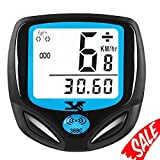 007KK Bike Speedometer Waterproof Wireless Bicycle Bike Computer and Odometer with Automatic Wake-up Multi-Function LCD Backlight Display Cycling Odometer (White) (Color: White Light)