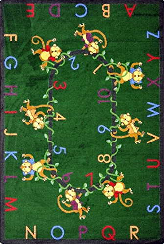 "Motivating Monkeys 123'S & Abc'S Premium Cut Pile Stainmaster Nylon Area Rug (10'9""X13'2"", Green) front-983748"
