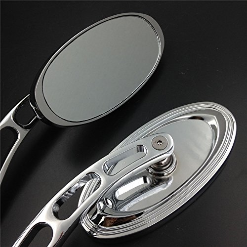 SMT GROUP Oval Shape Custom Chrome Mirrors Fit all Harley-Davidson models: Softail/Fat Boy/Road KingTexas Chopper/Big Dog/Titan/Iron Horse/Ultra and any Custom Application (Chrome Chopper Mirrors compare prices)