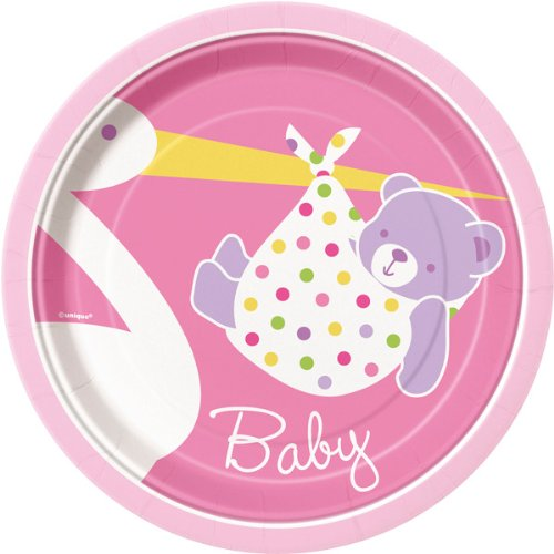 Baby Girl Stork 8 Count Dessert Plates, 7-Inch, Pink And White front-991734