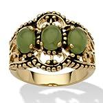 Oval Green Genuine Jade 14k Gold-Plat...