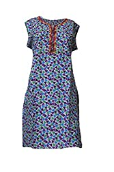 Tulip Collections Women's Cotton Printed Kurta, Multicolored (Small, Purple)