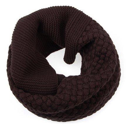 Caldo inverno studenti testina colore solido lana sciarpa bib Lady inverno collare imbottito ,caffè scuro