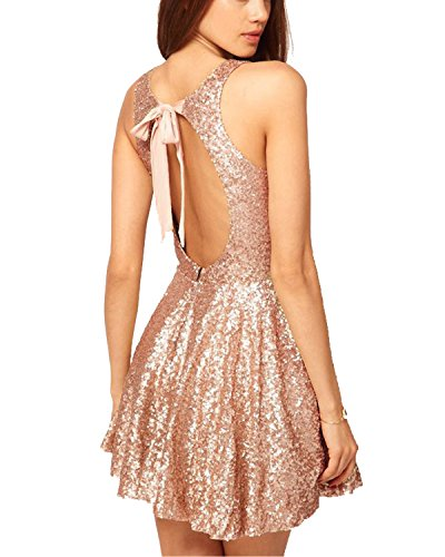Now and Forever Sequins Open Back Cocktail Dress (2, Rose Gold)