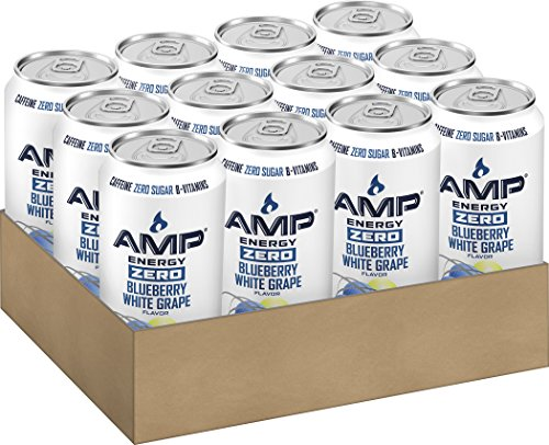 AMP ENERGY Zero, Blueberry White Grape, Caffeine, B Vitamins, Zero Sugar, 16 Ounce Cans (12 Count) (Blueberry Grape compare prices)