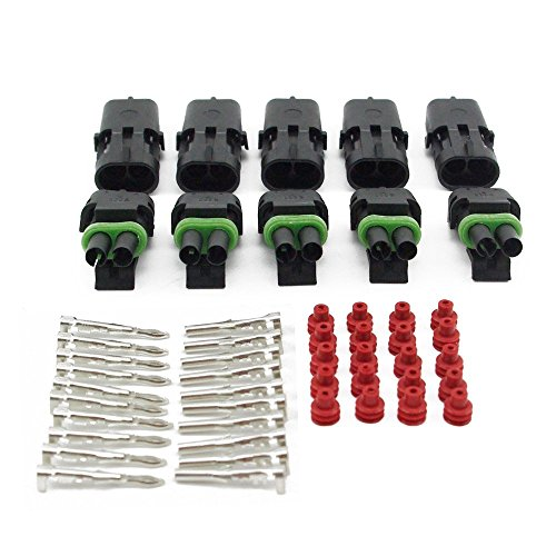Yiding 10 Set 1.5Mm 2 Pin Way Waterproof Vehicle Electrical Wire Cable Connector Plug 10 Kits