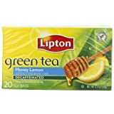 Lipton Green Tea, Decaf Honey Lemon, Tea Bags 20Count Boxes (Pack of 6) ~ Lipton