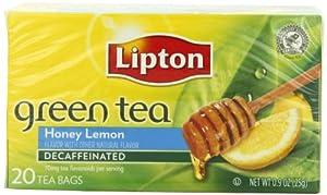 Lipton Green Tea, Decaf Honey Lemon, Tea Bags 20Count Boxes (Pack of 6)