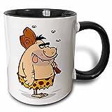 3dRose 3dRose Funny Goofy Caveman Cartoon With Club - Two Tone Black Mug, 11oz (mug_119141_4), , Black/White