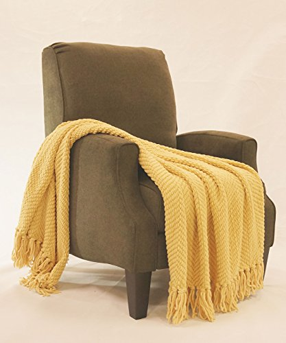 "BNF Home Knitted Tweed Throw Couch Cover Blanket, 50 x 60"", Jo Joba Yellow"
