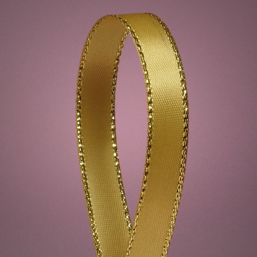 "Antique Gold Satin Ribbon with Gold Edges, 3/8"" X 50Yd"