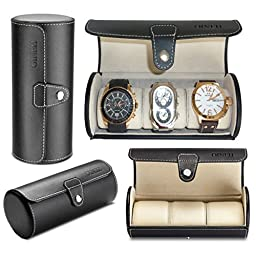 Leatherette Roll Traveler\'s Watch Storage Organizer for 3 Watch and / or Bracelets (Black)