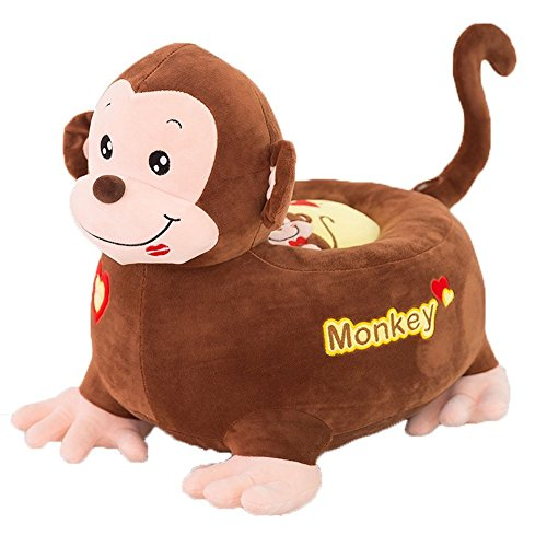 Children PP Cotton Plush Toys Baby Chair Seat Sofa,Kids Cartoon Animal Sofa,Soft Tatami Chairs Gifts for Boys and Girls Monkey 1