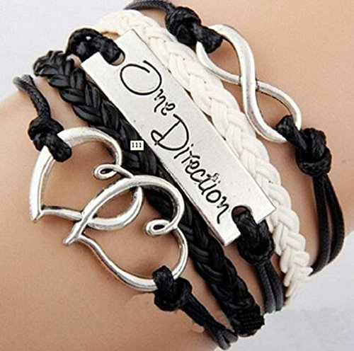 Ebuyingcity Fashion Infinite Bracelet Leather Knit Rope Love One Direction Heartpunk Charms (Bracelets One Direction compare prices)