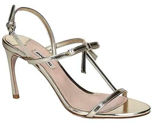 Sandali tacco alto Miu Miu in Pelle laminato Platino - Codice modello: 5X9737 3D8A F0846 - Taglia: 40 IT