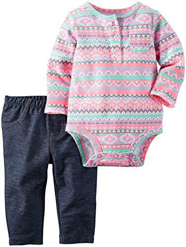 Carter's Baby Girls Bodysuit Pant Sets, Denim, 12 Months