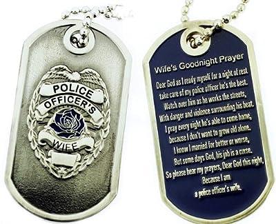 Police Officer's Wife Prayer Brushed Steel Dog Tag