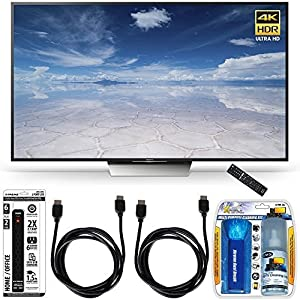 Sony XBR-65X850D 65-Inch Class 4K HDR Ultra HD TV Accessory Bundle includes TV, Screen Cleaning Kit, Power Strip with Dual USB Ports and 2 HDMI Cables