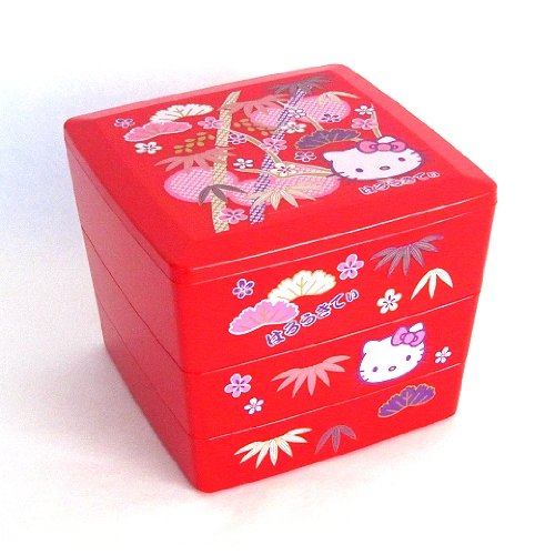 Bento: Sanrio Hello Kitty Design Japanese Style 3-layer Bento Lunch Box (Red)