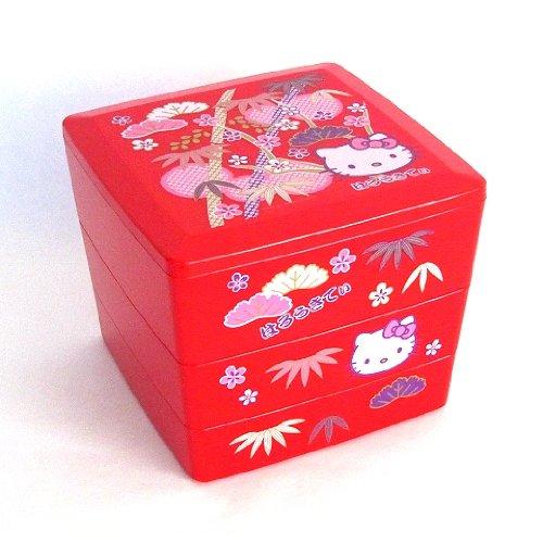 Bento: Sanrio Hello Kitty Design Japanese Style 3-layer Bento Lunch Box (Red)