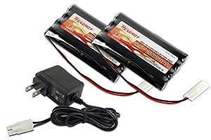 Combo: 2 pcs Tenergy 9.6V 2000mAh NiMH High Capacity Battery Packs + 15V 400mah Simple Pack Charger (for 8.4V-12V packs) for RC Car, Robots, Security