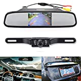 "Backup Camera and Monitor Kit,Chuanganzhuo 4.3"" Car Vehicle Rearview Mirror Monitor for DVD/VCR/Car Reverse Camera + CMOS Rear-view License Plate Car Rear Backup Parking Camera With 7 LED Night Vision"