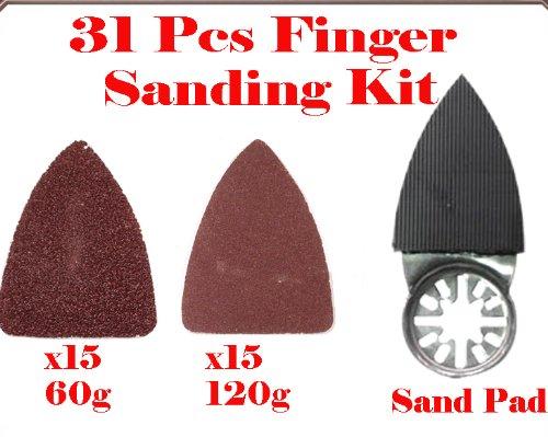 31 Pcs Finger Type Detail Sanding Kit Sanding Pad W/ Velcro Oscillating Multi Tool Saw Blades Sand For Fein Multimaster Bosch Multi-X Craftsman Nextec Dremel Multi-Max Ridgid Dremel Chicago
