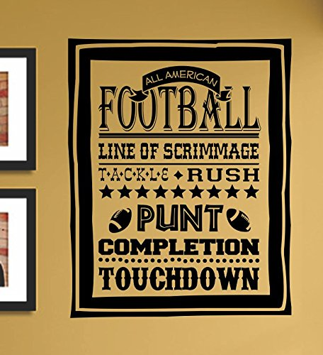 All American Football Line Of Scrimmage Tackle Rush Punt Completion Touchdown Vinyl Wall Art Decal Sticker front-743714