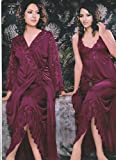 Odishabazaar Hot Sleep Wear 2pc Nighty Over Coat Maroon Women Babydoll Bed Night Set