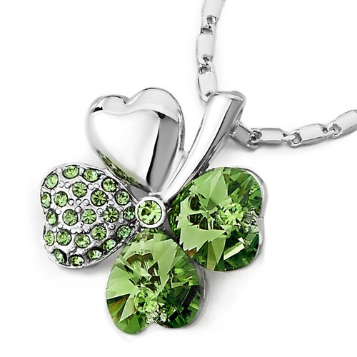 Pugster Four-Leaf Clover August Birthstone Peridot Green Swarovski Crystal Hearts Pendant Necklace