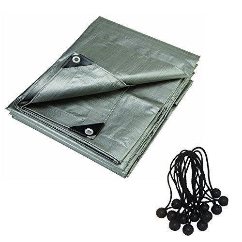 6 x 8 Foot Heavy Duty Gray Contractors Tarp with 15 Ball Bungees. 12 Mil Uv Protecting