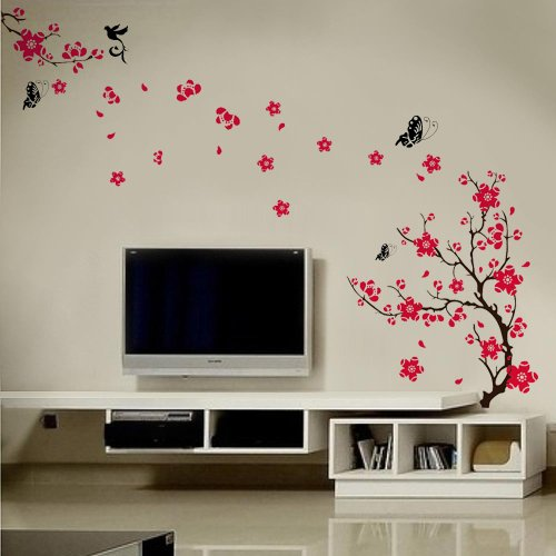 Walplus Stylish Cherry Plum Blossom Flowers and Butterflies Wall Stickers Home/Room Decors Mural Art Decals