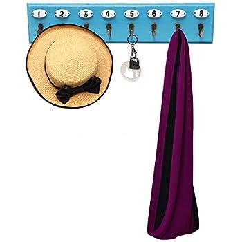Wall Mounted Vintage Style Wooden Coat Hook Hanger Utility Organizer Rack w/ Numbered Hooks - Blue