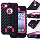 Bayke Brand / Apple iPhone 4 4S Two Layer Armor Skidproof Case 3in1 Hybrid High Impact Rubber Soles Armored Vehicle Tread Tires Combo Soft Silicone Case with Inner Hard Shell (Hot Pink)