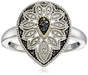 Sterling Silver and 14kt Gold Pear Shape Black Diamond Art Deco Ring, Size 7