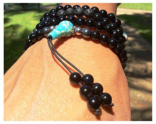 Buddhist Prayer Beads • Tibetan Mala Necklace • Healing Stones Bracelet • Chakra Jewelry • Onyx Hematite (Imperial Jasper)