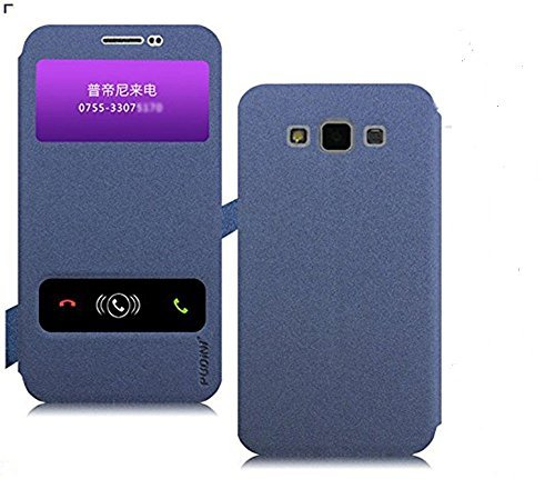 Original Pudini® Blue colour Double window Flip Case For Samsung Galaxy Grand Max with free screen guard