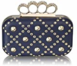 Ladies Navy Blue Padded Clutch Bag Gold Studs Diamantes Knuckles Skull Rings Evening Bag KCMODE
