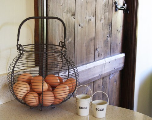 Egg Basket French Traditional Country Vintage Style Grey Wire Metal Storage Rack (French Wire Egg Basket compare prices)