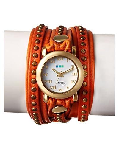 La Mer Collections Women's LMSW3011 Orange Gold Bali Stud Watch