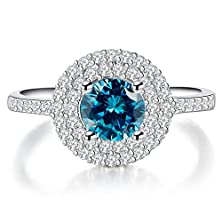 buy 14K White Gold Aquamarine And Diamond Ring