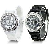White Black 2 Pack Geneva Silicone Colorful couple of style quartz watches
